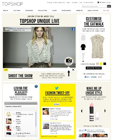 Topshop's is partnering with Facebook for its first-ever live 'customisation of the catwalk'.