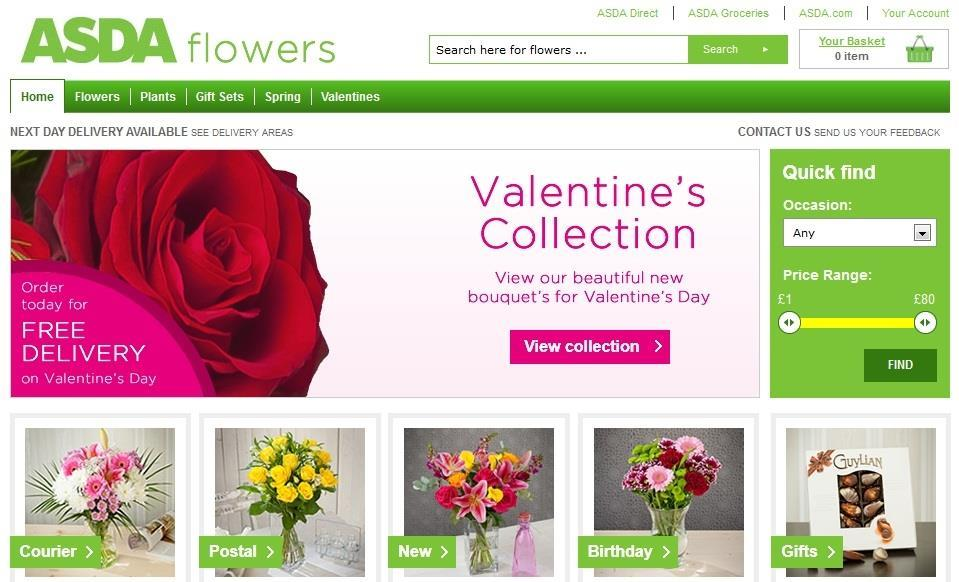 Asda relaunches dedicated flower website to take on MS and – Asda Valentine Card