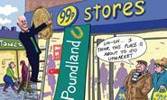 Retail Week's cartoonist Patrick Blower's take on Poundland's tie-up with with fellow single-price retailer 99p Stores.