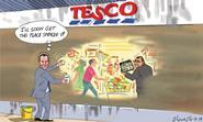 Retail Week's cartoonist Patrick Blower's take on Dave Lewis stepping into Philip Clarke's shoes as Tesco's new chief executive.
