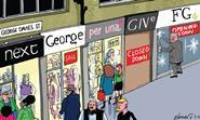 Retail Week cartoonist Patrick Blower's take on fashion entrepreneur George Davies' latest retail proposition FG4 preparing to open stores.
