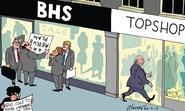 Retail Week cartoonist Patrick Blower's take on Sir Philip Green selling struggling retailer BHS to Retail Acquisitions.