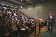 Sainsbury\'s former CEO Justin King speaking at the 2013 Oxford Summer School.