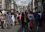 The number of empty shops on UK high streets is falling at the fastest rate for at least eight years.