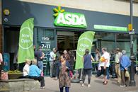 The front of the new Asda store in Wealdstone features the grocer\'s revamped logo, including the \'spark\' of parent company Walmart.
