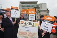 A GMB protest at Amazon\'s Slough headquarters last year.