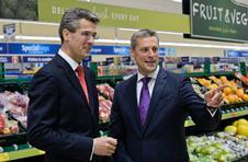 Aldi\'s joint managing directors Roman Heini and Matthew Barnes in the Stratford-upon-Avon store