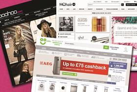 Boohoo.com (top left), Ao.com (above) and The Hut Group's HQhair.com (top right)