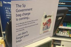 Signage has gone up in supermarkets, including Tesco, to warn customers of the impending 5p charge per plastic carrier bag.