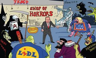 Retail Week\'s cartoonist Patrick Blower\'s take on Tesco's little shop of horrors, with accounting errors and discounter ghouls.