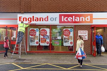 Iceland changed the fascia of its Leicester store to show its split allegiances