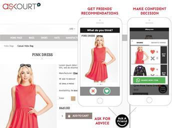 Askourt is a mobile platform that allows shoppers to send instant messages to their friends about prospective purchases directly through a retailer's website