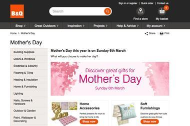 B&Q's dedicated Mother's Day website