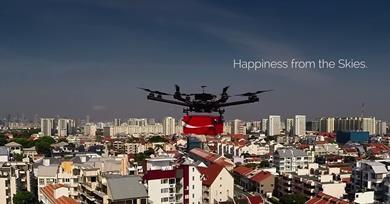 Coca Cola used drones to deliver drinks and messages from the people of Singapore to migrant construction workers