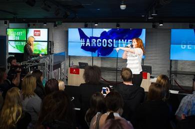 Katy B performs at Argos\' Old Street store