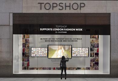 Topshop\'s window installation for London Fashion Week