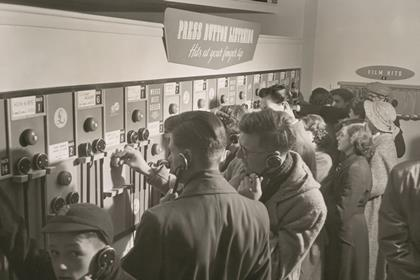 HMV Oxford St press button customers 1950s